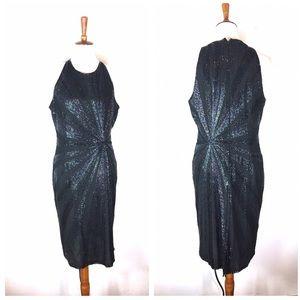 Vintage Papell boutique sequin black  dress